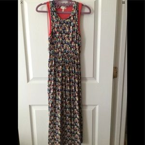Monteau Girl Floral Navy Blue/Coral Maxi Dress